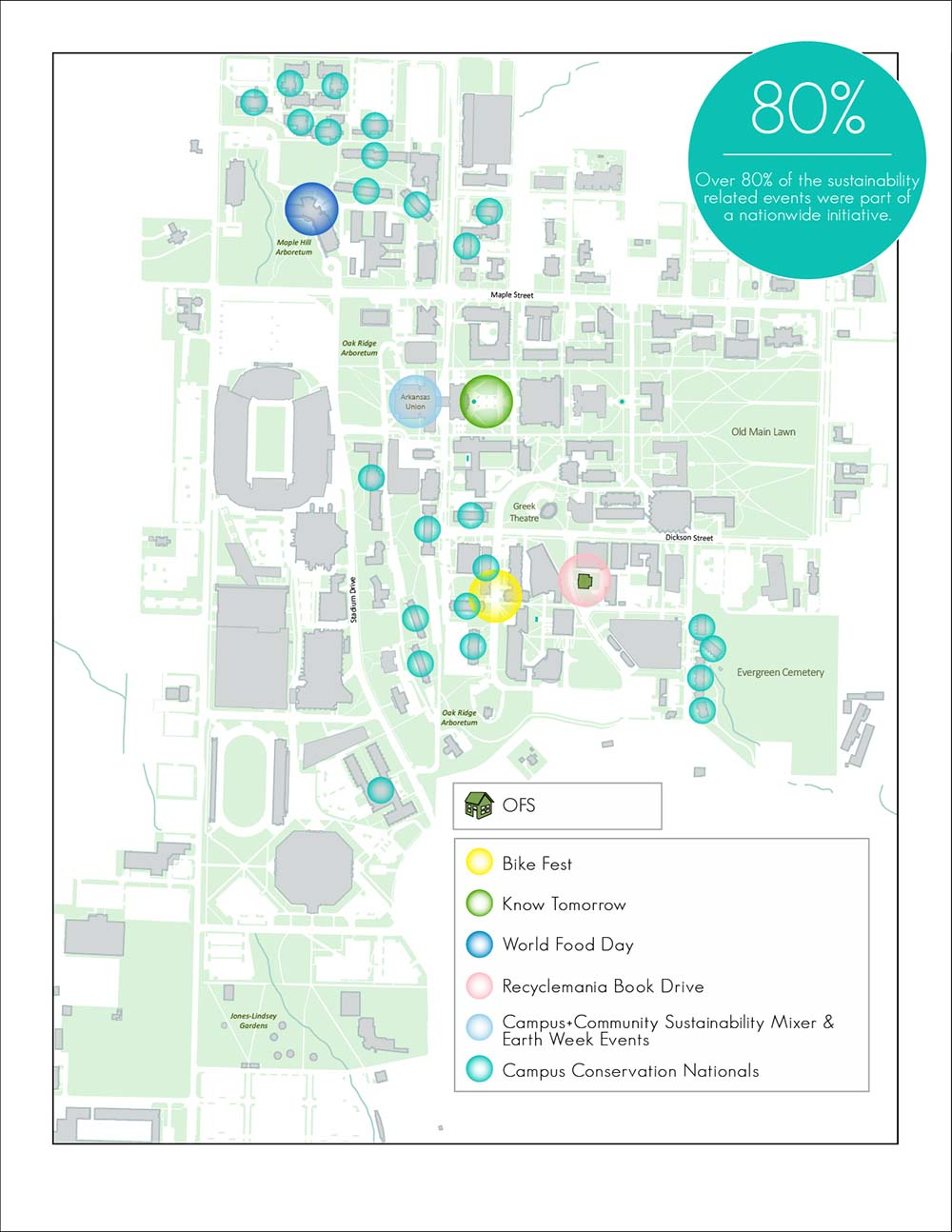 Map of LEED buildings on campus