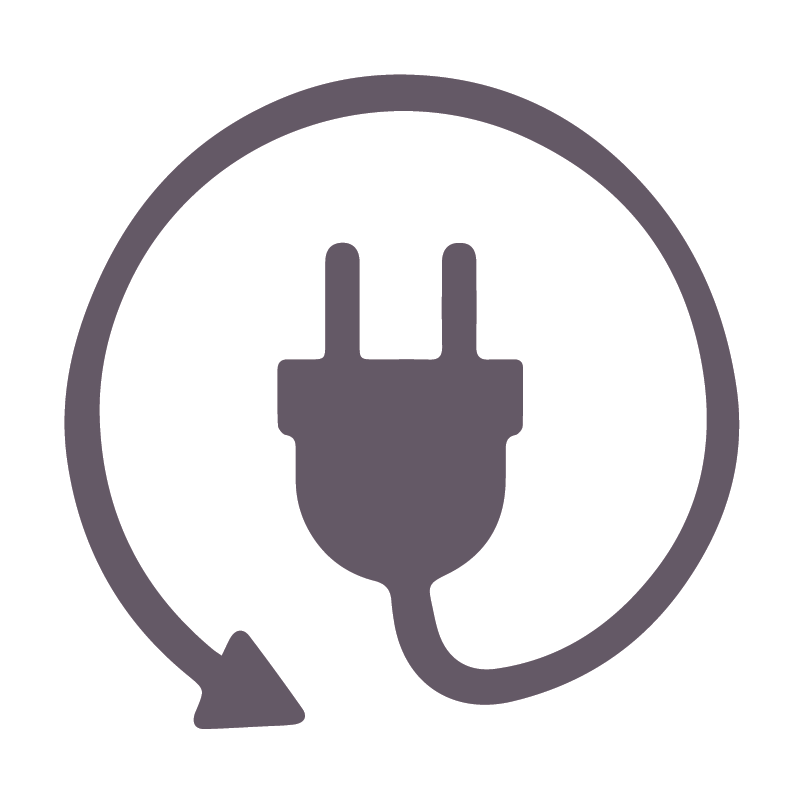 A purple icon of a charging cord.