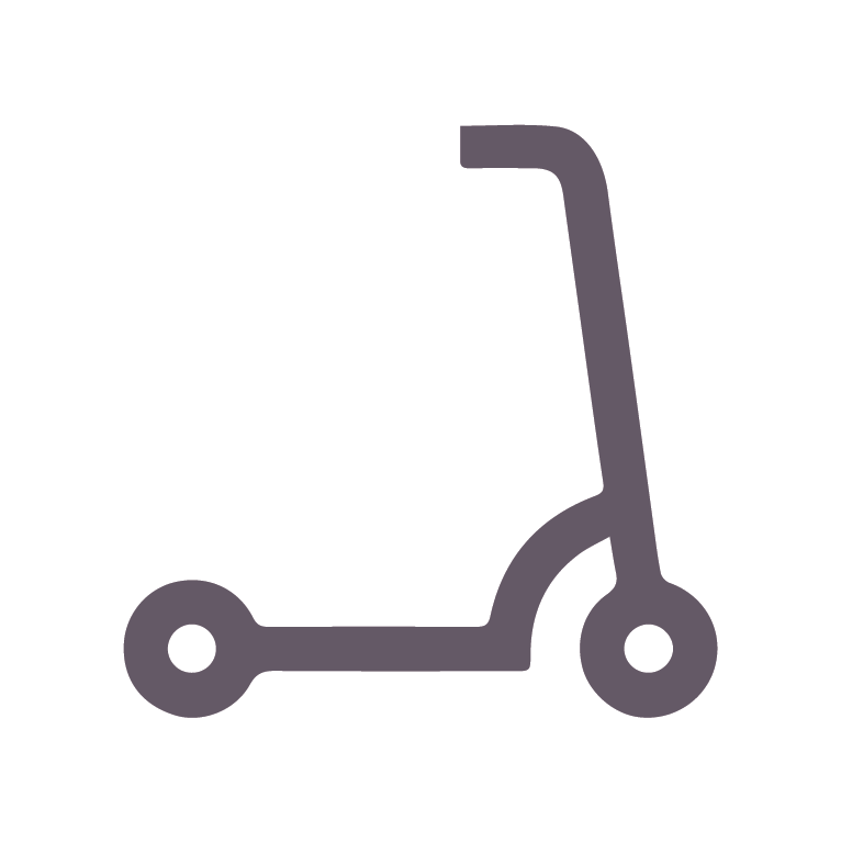 An orange icon of a scooter.